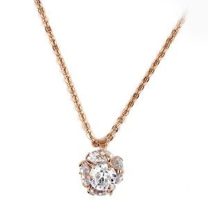Rose gold mini crystal ball necklace